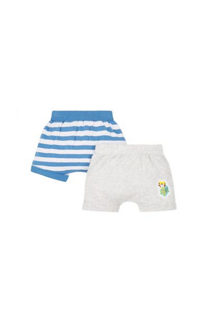 Mothercare   Blue and Grey Striped Shorts - Pack of 2