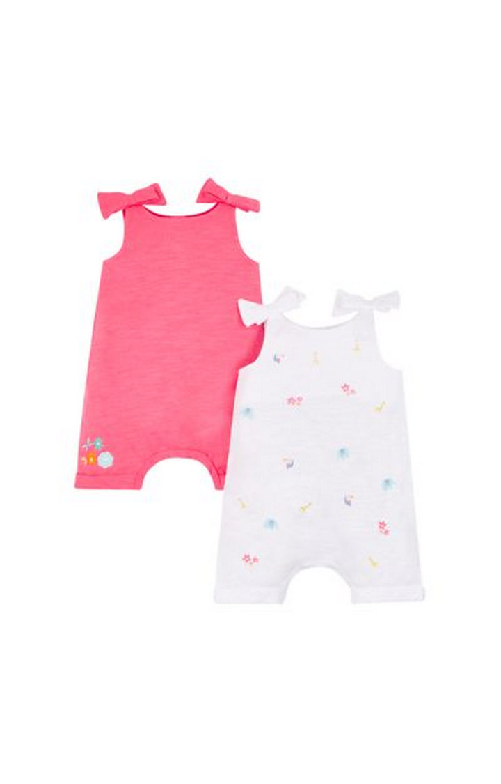 Mothercare   Pink and White Printed Rompers