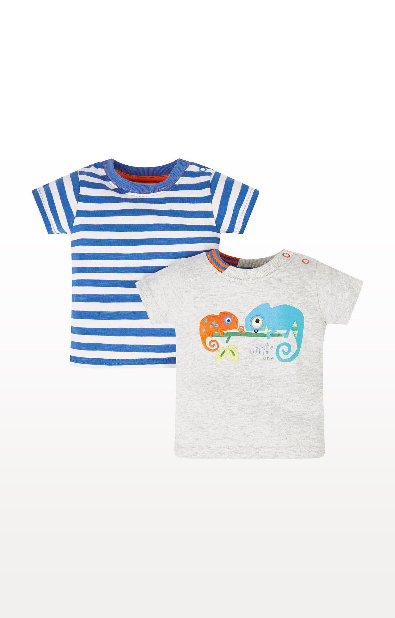 Mothercare | Blue and Grey Striped Chameleon T-Shirts - Pack of 2