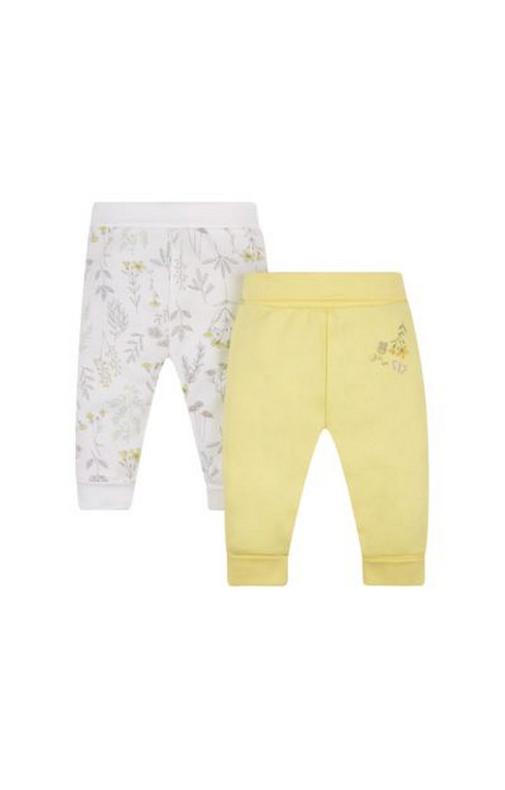 Mothercare | White and Yellow Printed Joggers - Pack of 2