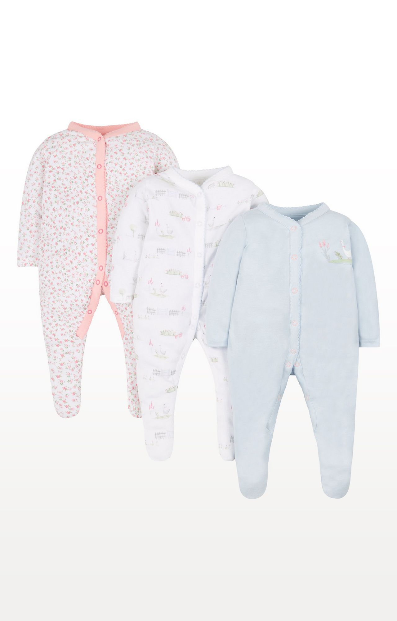 Mothercare | Pink Printed Floral Geese Sleepsuits - Pack of 3