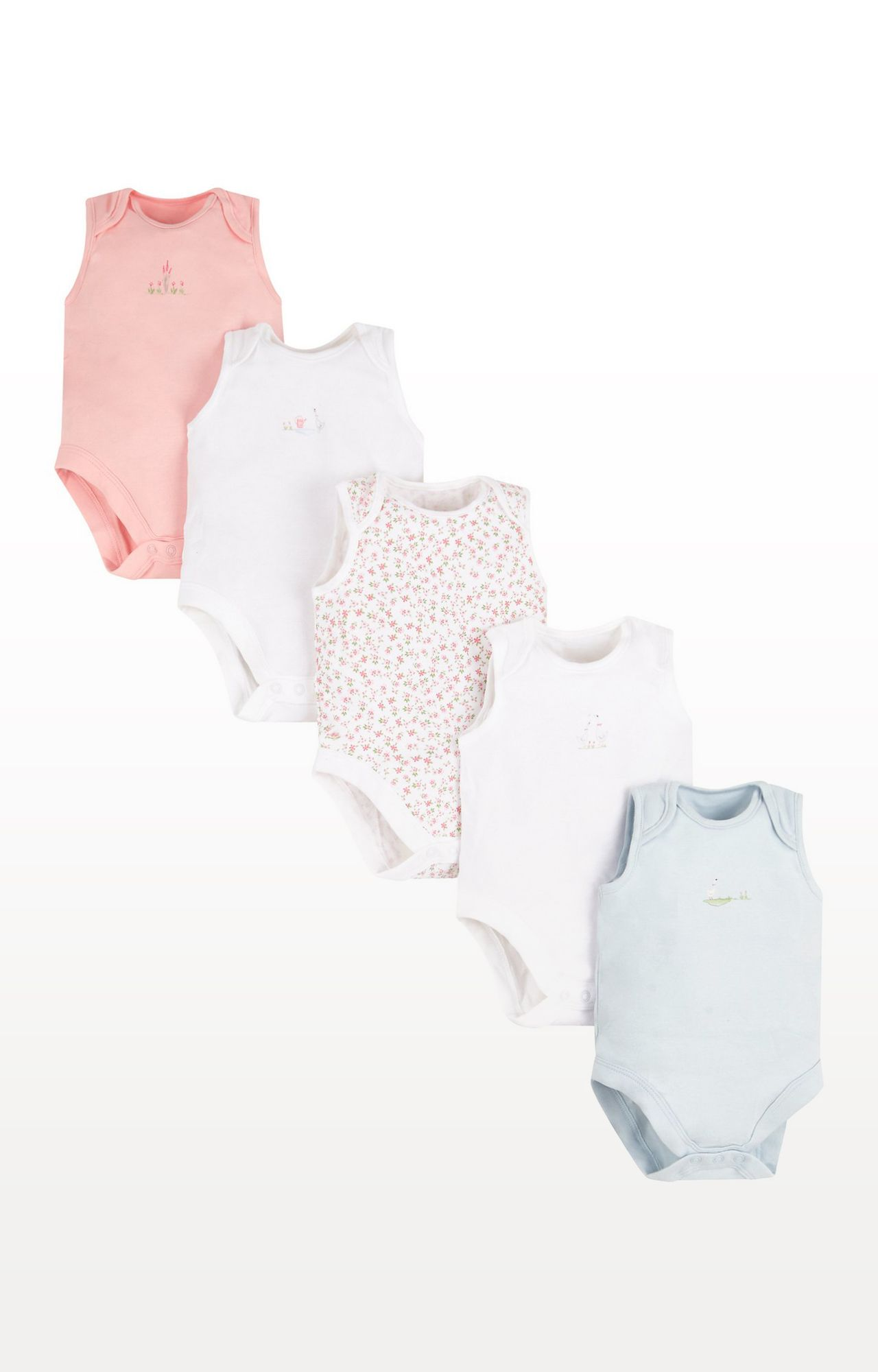 Mothercare | Pink Printed Floral Geese Bodysuits - Pack of 5