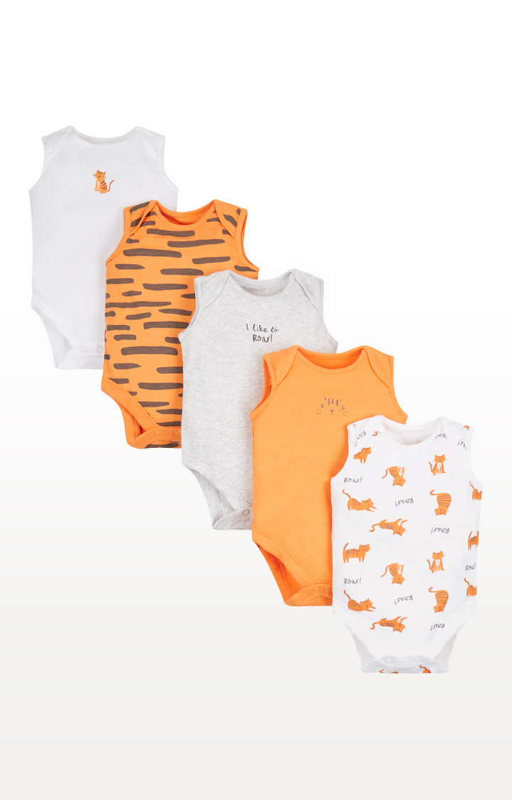 Mothercare | Tiger Bodysuits - 5 Pack