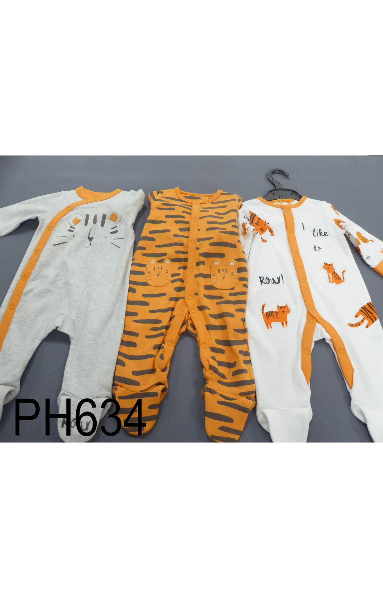 Mothercare | Grey, Orange and White Printed Romper - Pack of 3
