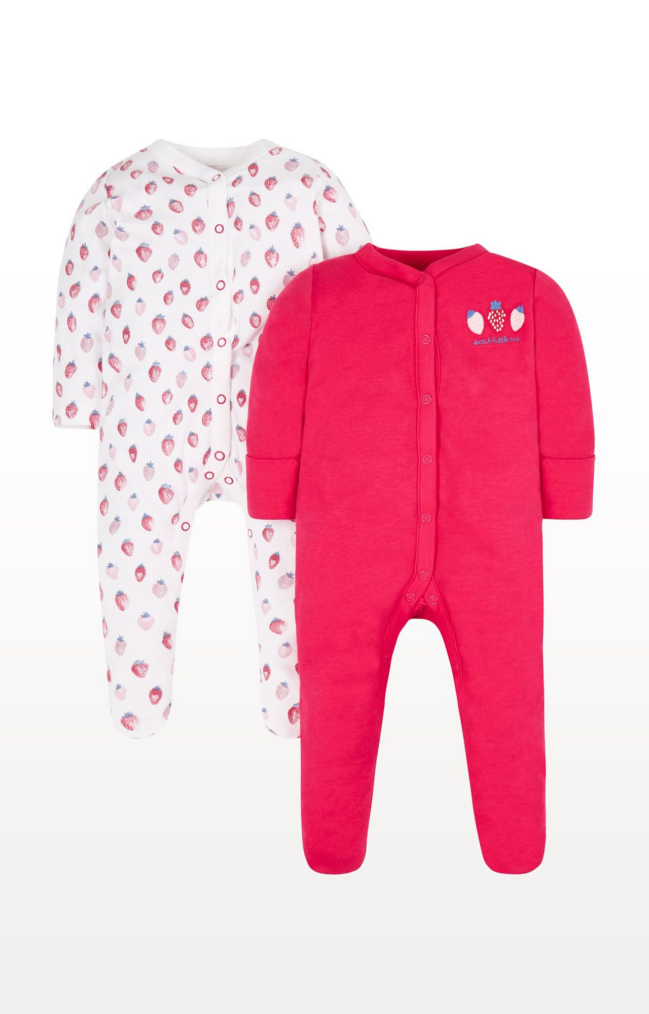 Mothercare | Pink Printed Strawberry Sleepsuits- Pack of 2