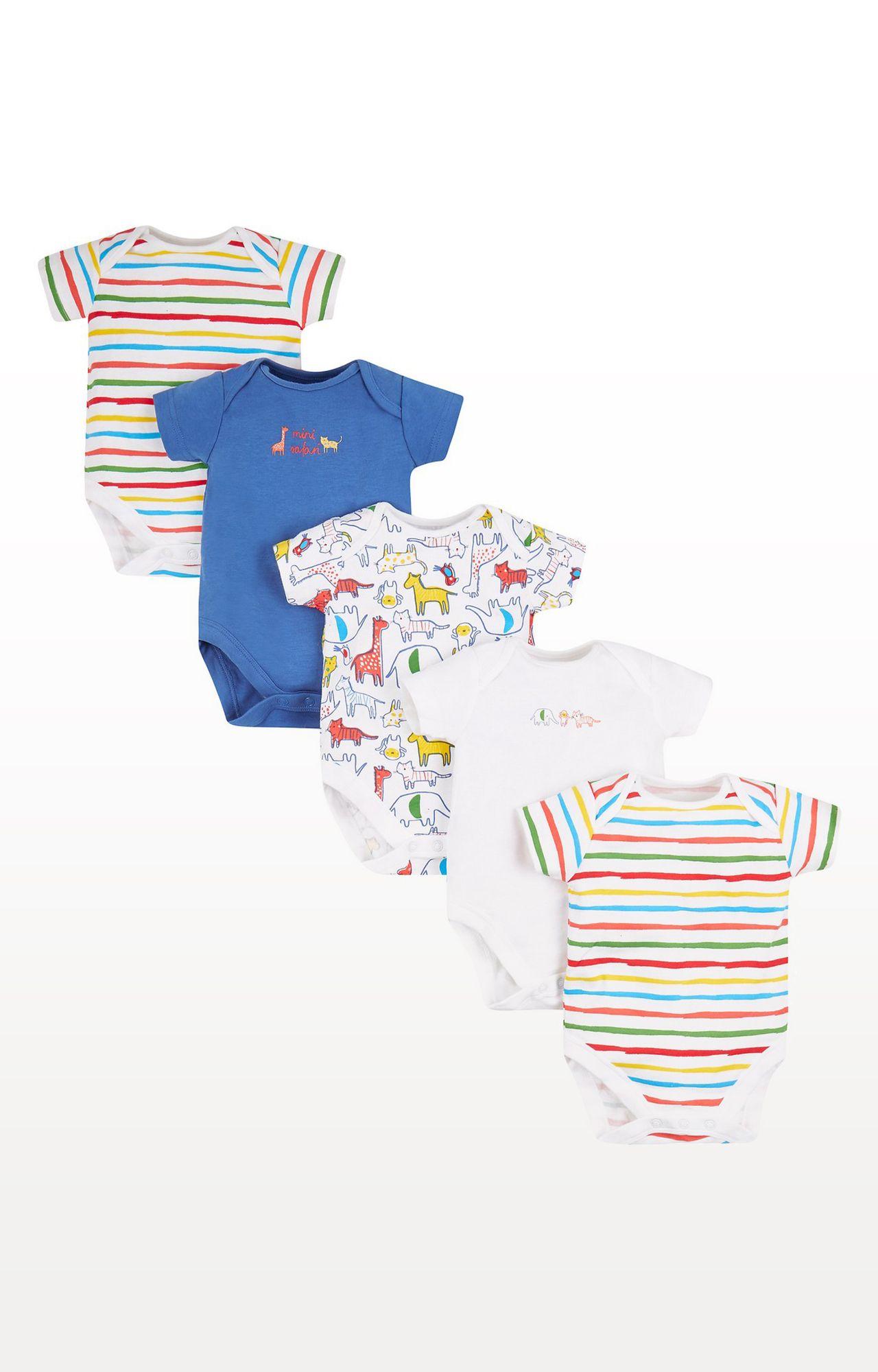 Mothercare | Orange Printed Safari Bodysuits - Pack of 5
