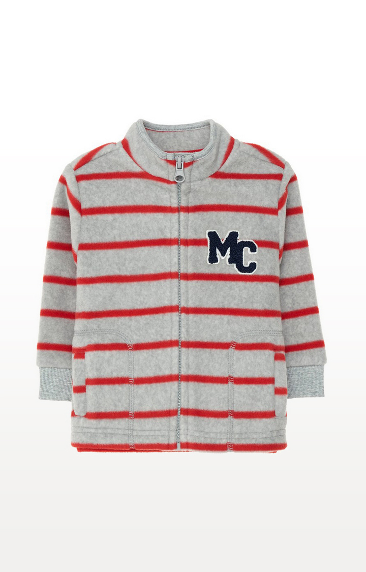 Mothercare | Grey And Red Stripe Fleece