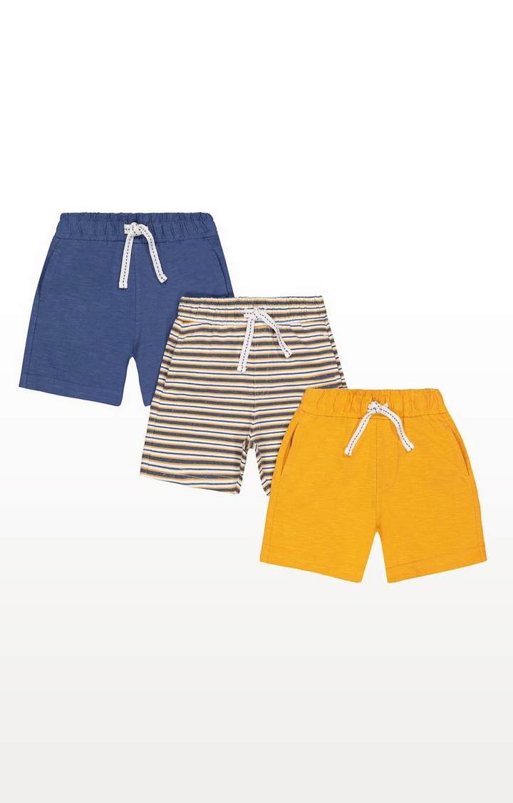 Mothercare | Blue, Yellow And Striped Shorts - 3 Pack