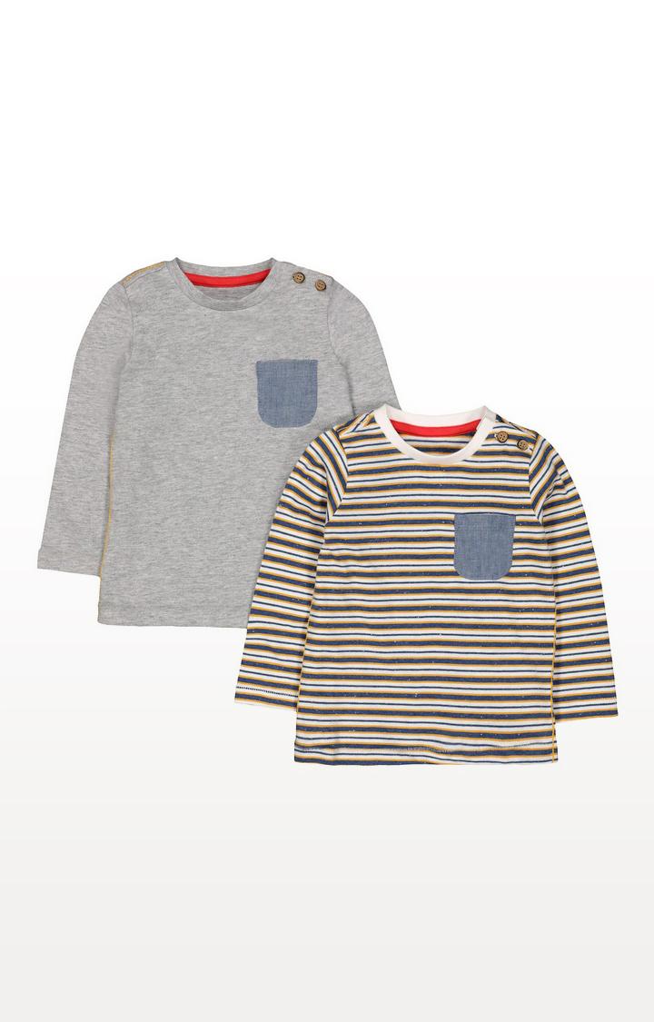 Mothercare | Denim Pocket Stripe T-Shirts - 2 Pack