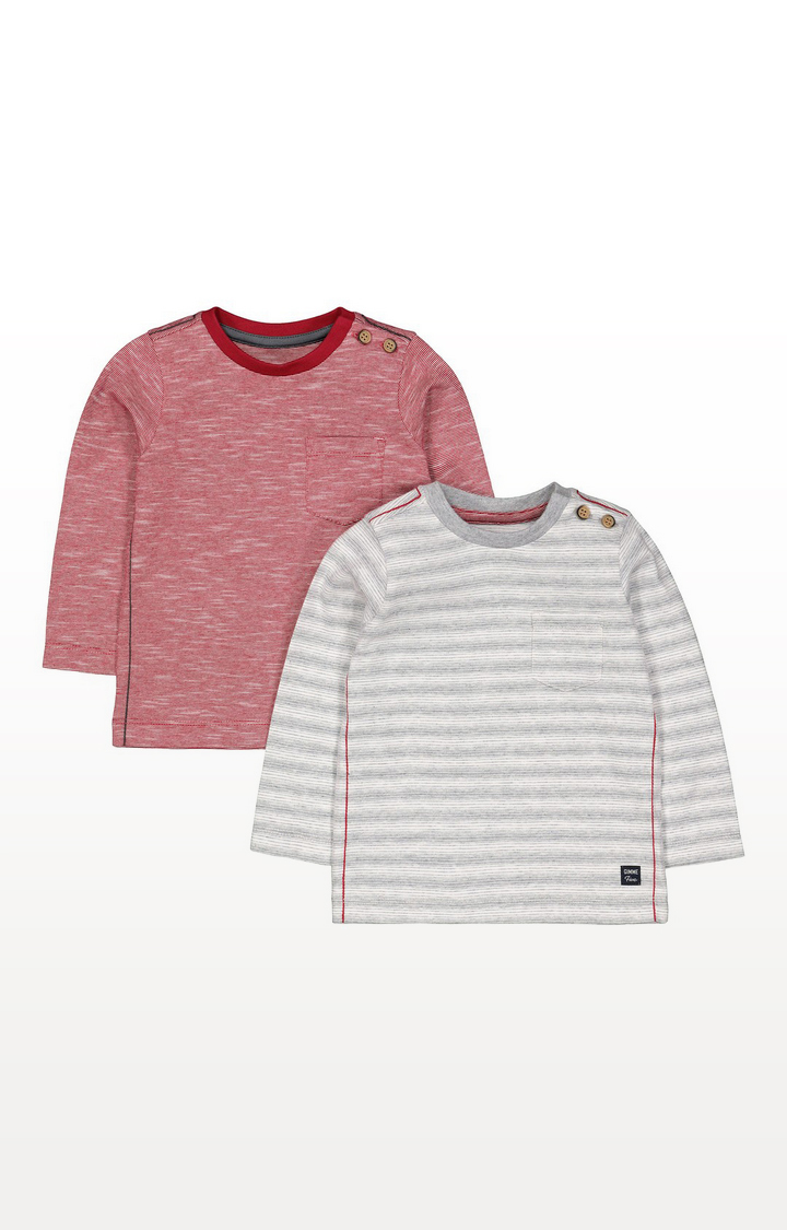 Mothercare | Red And Grey Stripe T-Shirts - 2 Pack
