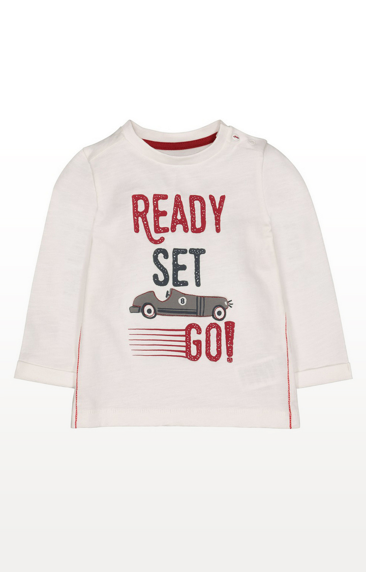 Mothercare   Cream Ready Set Go T-Shirt