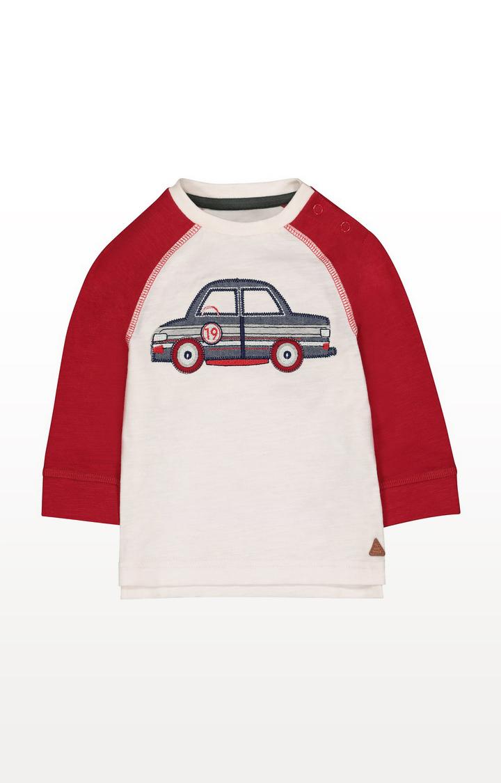Mothercare   White Car Raglan T-Shirt