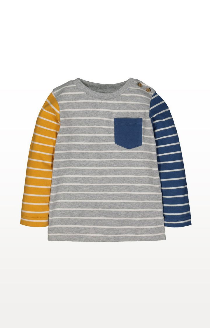 Mothercare | Yellow, Blue And Grey Stripe T-Shirt