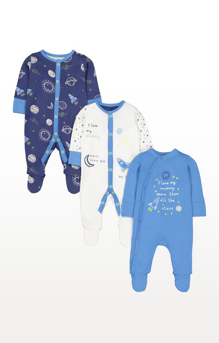 Mothercare | Mummy And Daddy Space Sleepsuits - 3 Pack