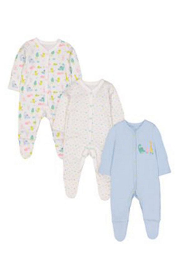Mothercare | Dinosaur Friends Sleepsuits - 3 Pack