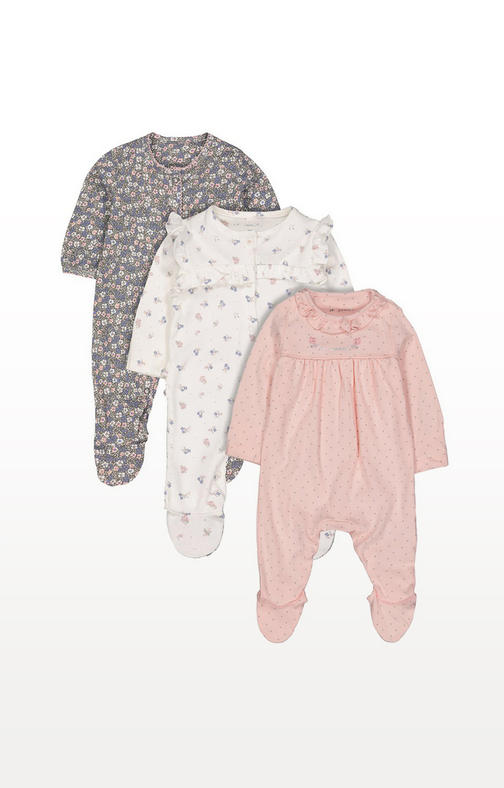 Mothercare | Floral Sleepsuits - 3 Pack