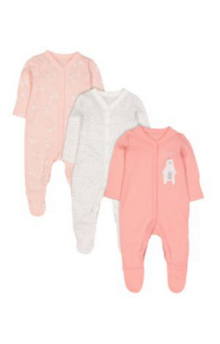 Mothercare | Pretty Polar Bear Sleepsuits - 3 Pack