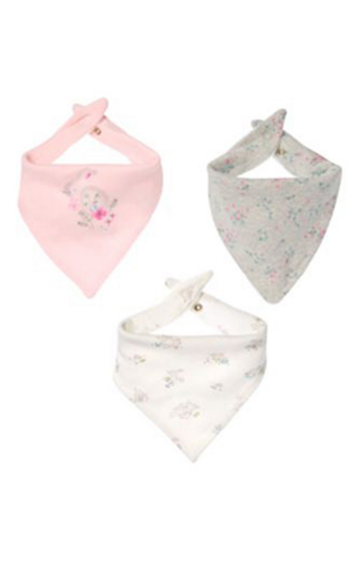 Mothercare   White, Grey and Pink Printed Bibs - Pack of 3