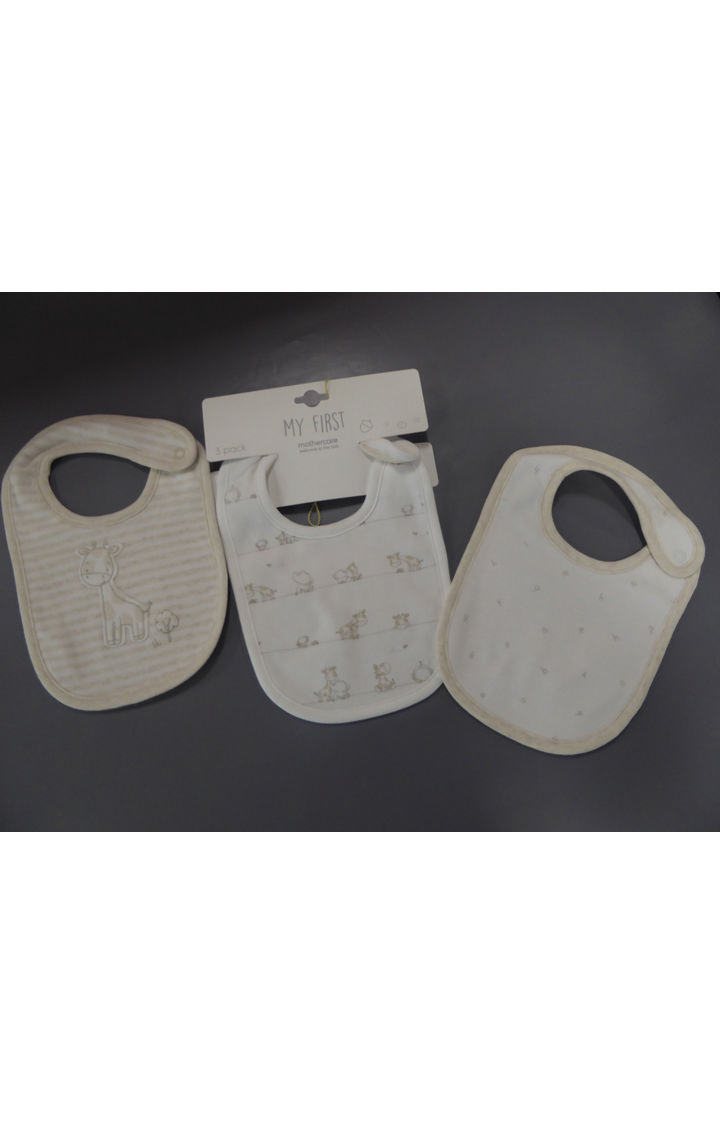 Mothercare | Off White Printed Bibs - Pack of 3