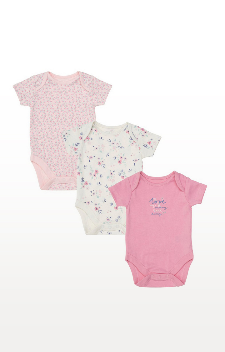 Mothercare | Mummy And Daddy Floral Bodysuits - 3 Pack