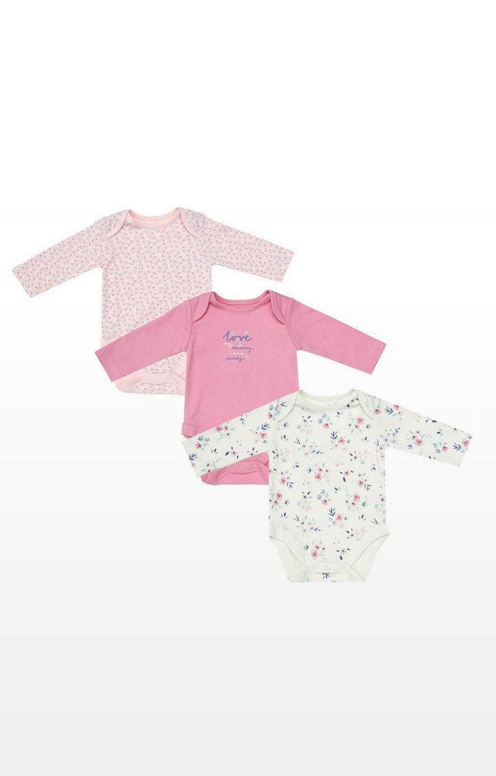 Mothercare   Mummy And Daddy Floral Bodysuits - 3 Pack