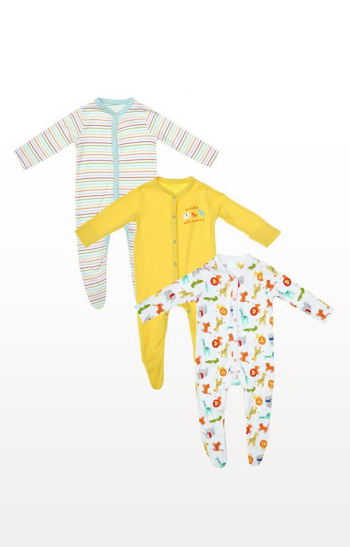 Mothercare   Safari Stripe Sleepsuits - 3 Pack
