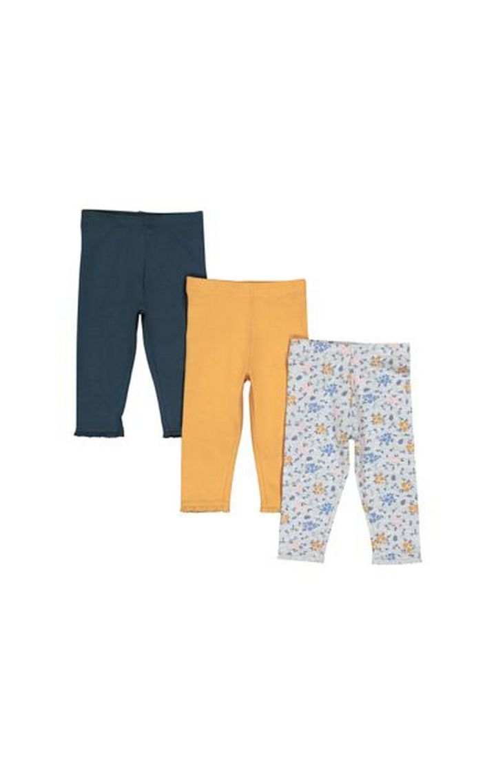 Mothercare | Navy, Mustard And Grey Floral Leggings - 3 Pack