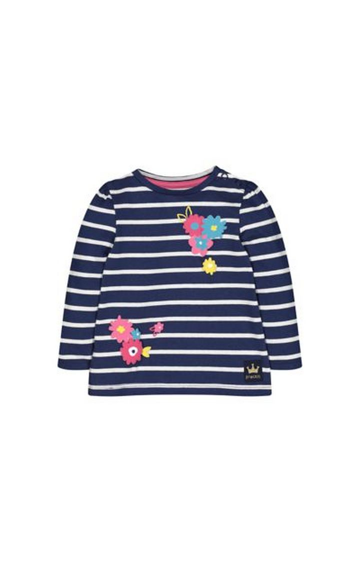 Mothercare | Navy Striped Flower T-Shirt