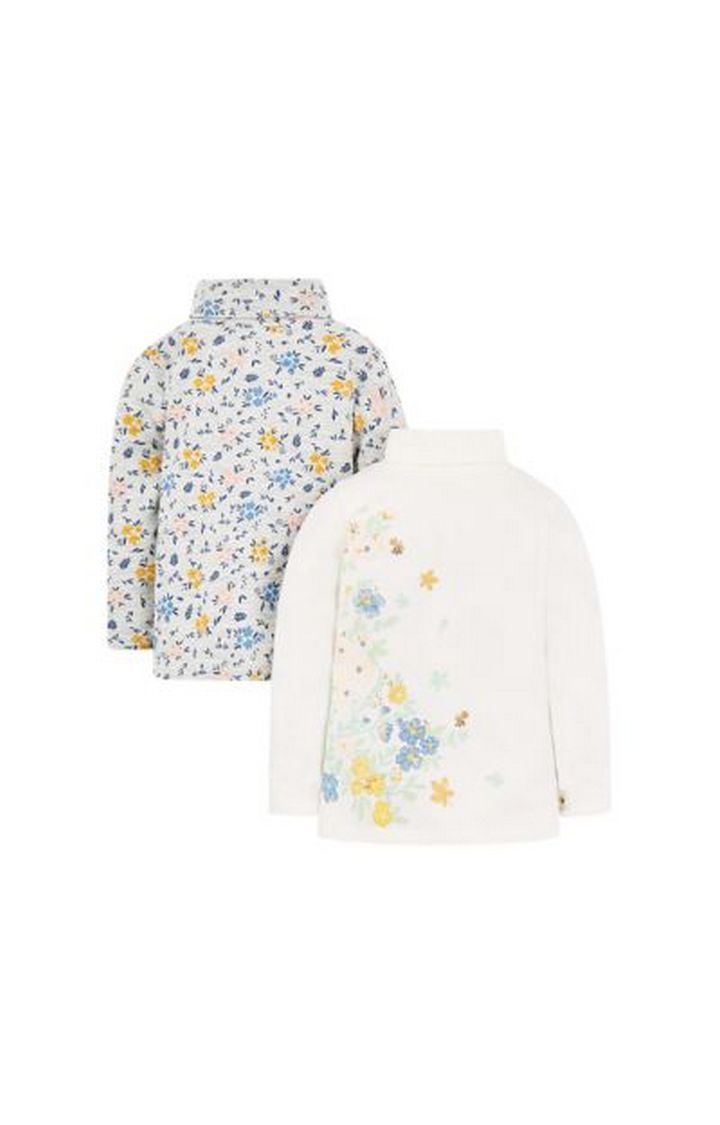 Mothercare | Floral Roll Neck Tops - 2 Pack
