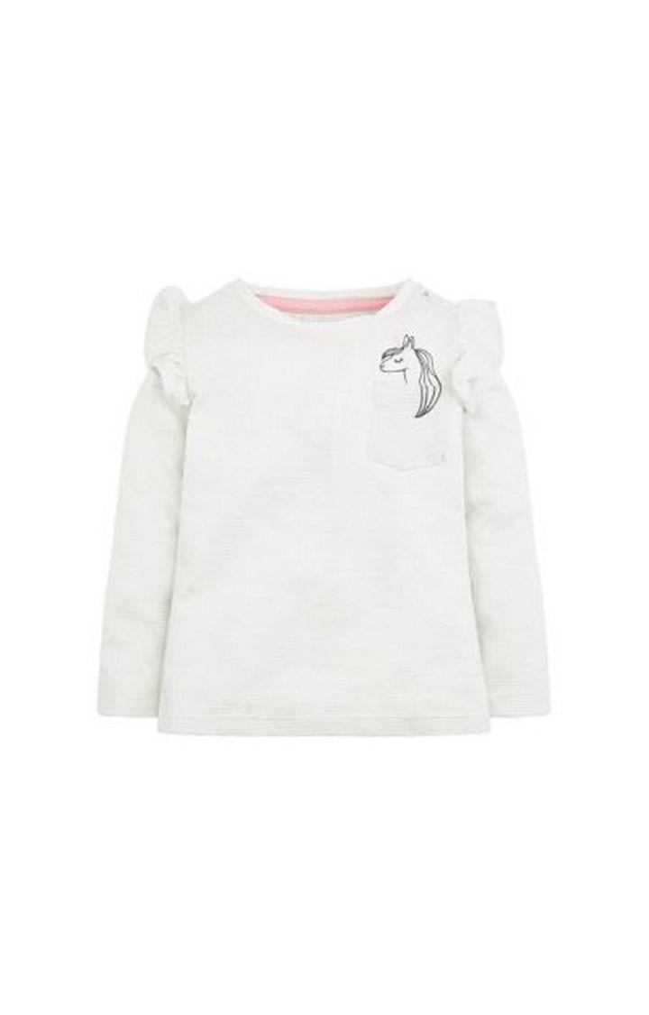 Mothercare | Cream Unicorn Frill T-Shirt