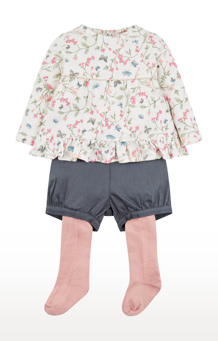 Mothercare | Floral Tunic, Shorts And Tights Set