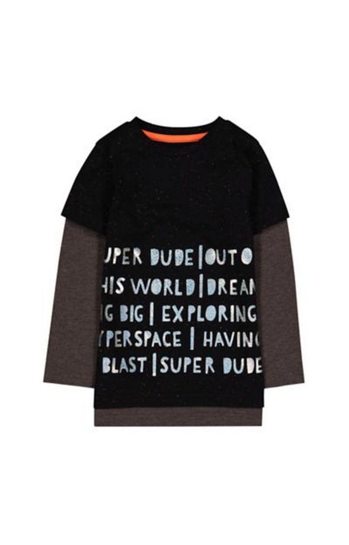 Mothercare | Black Super Dude Mock Layer T-Shirt