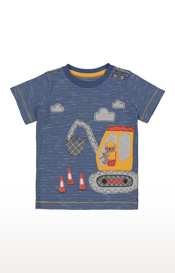 Mothercare   Blue Stripe Digger T-Shirt