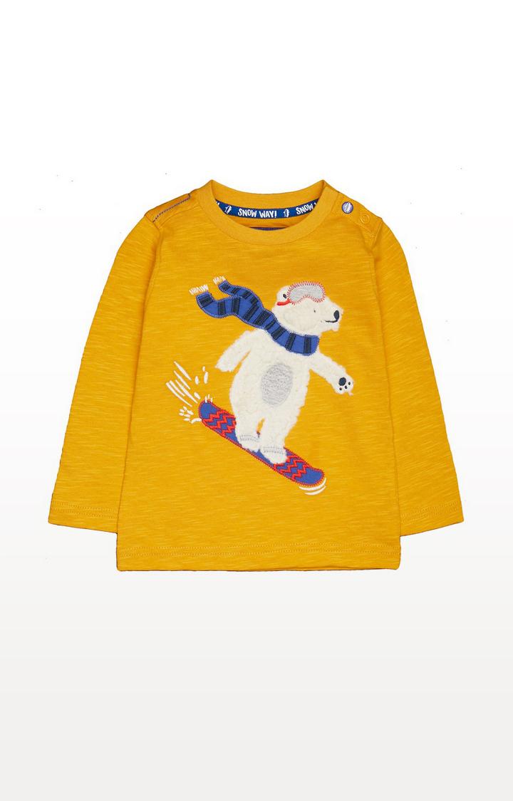 Mothercare | Mustard Polar Bear Snowboard T-Shirt