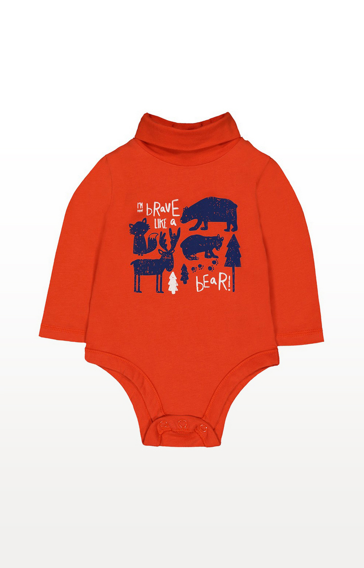 Mothercare | Red Brave Like A Bear Roll Neck Bodysuit
