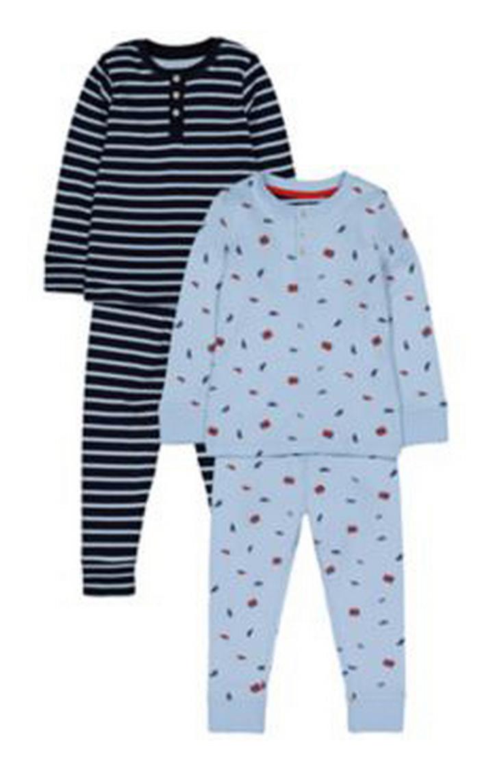 Mothercare   Heritage Bus Stripe Pyjamas - 2 Pack