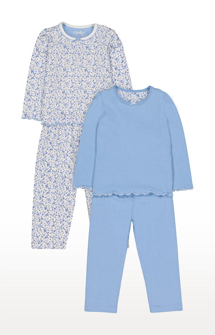 Mothercare   Heritage Blue Floral Pyjamas - 2 Pack