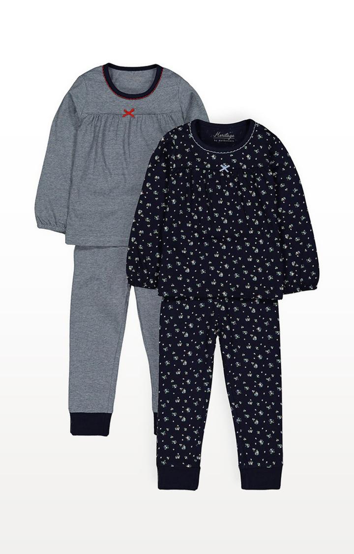Mothercare | Heritage Navy Floral Pyjamas - 2 Pack