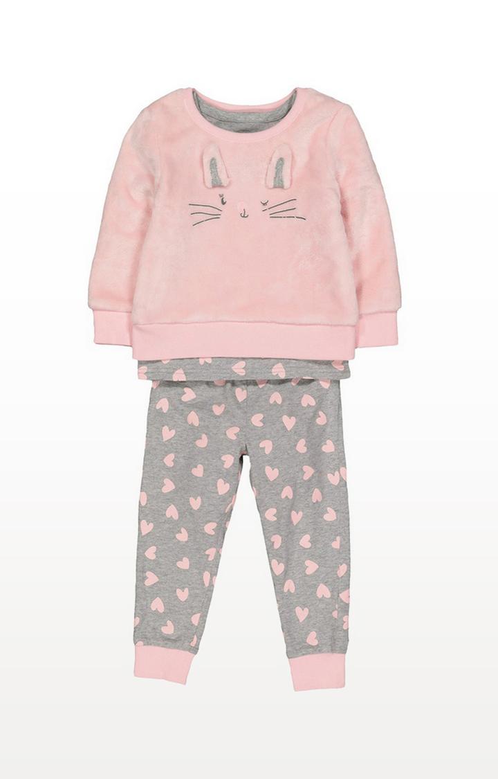 Mothercare | Pink Fluffy Bunny 3-Piece Pyjama Set