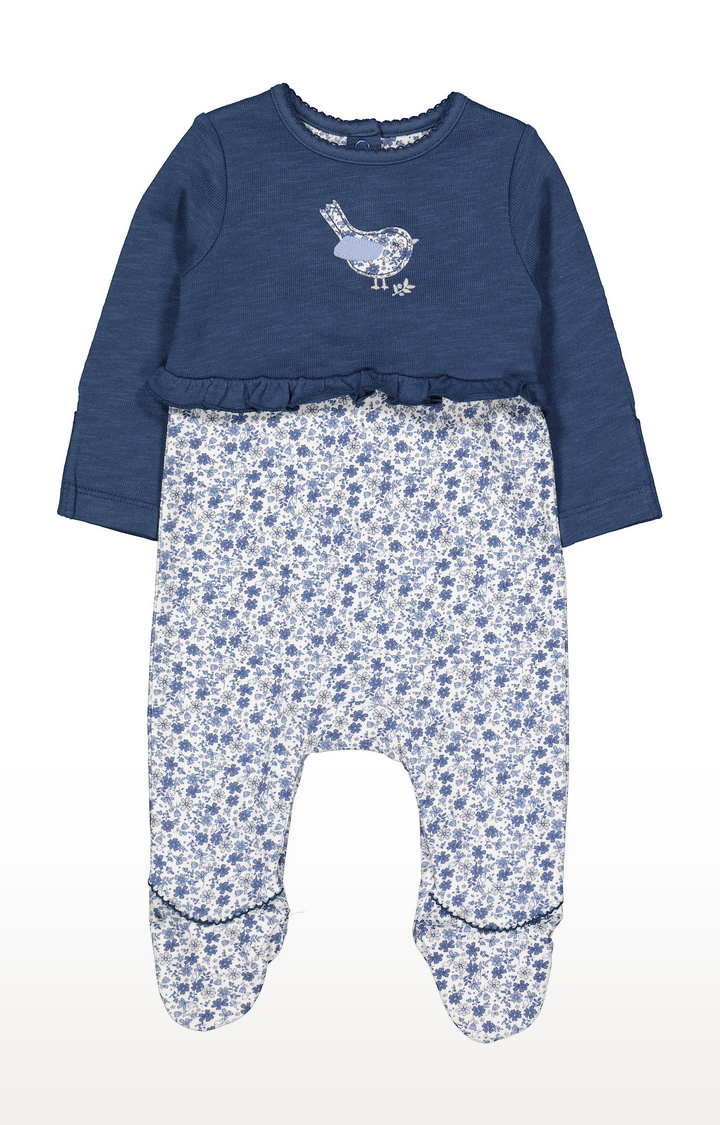Mothercare | Blue Floral Mock Top All In One