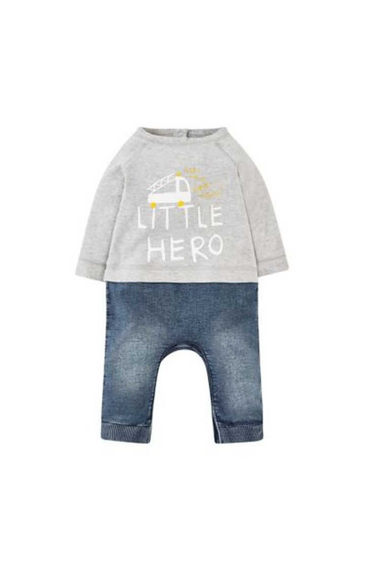 Mothercare | Little Hero Mock Jeans And Top All In One