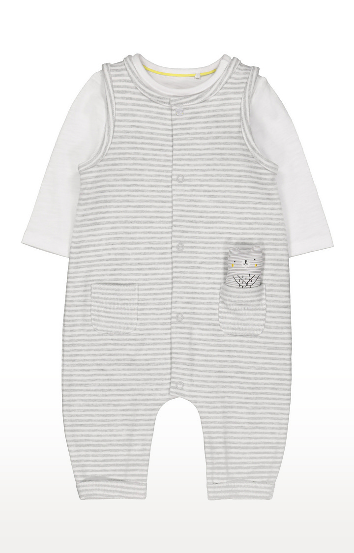 Mothercare | Striped Dungarees And Bodysuit Set