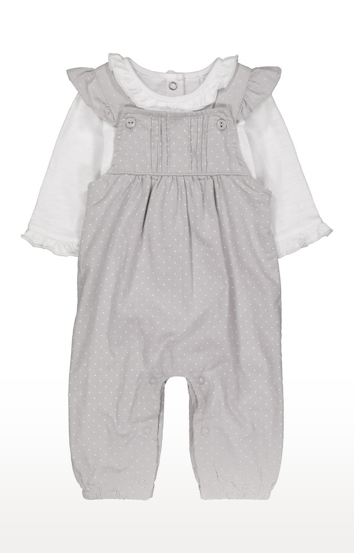 Mothercare | Grey Spot Cord Dungarees And Bodysuit