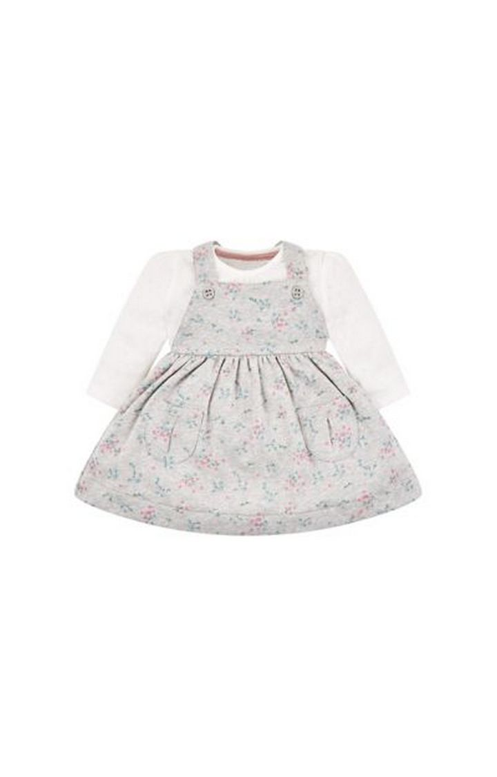 Mothercare | Grey Floral Pinny Dress And Bodysuit Set