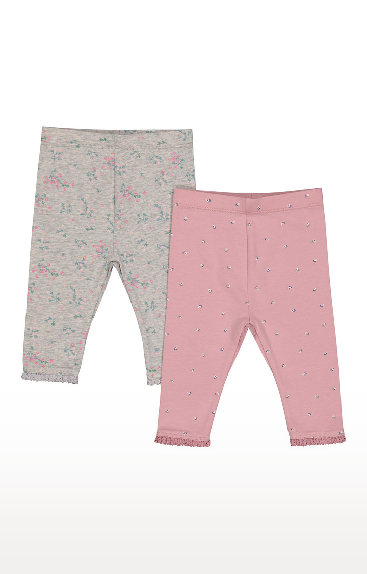 Mothercare | Pink And Grey Floral Leggings - 2 Pack