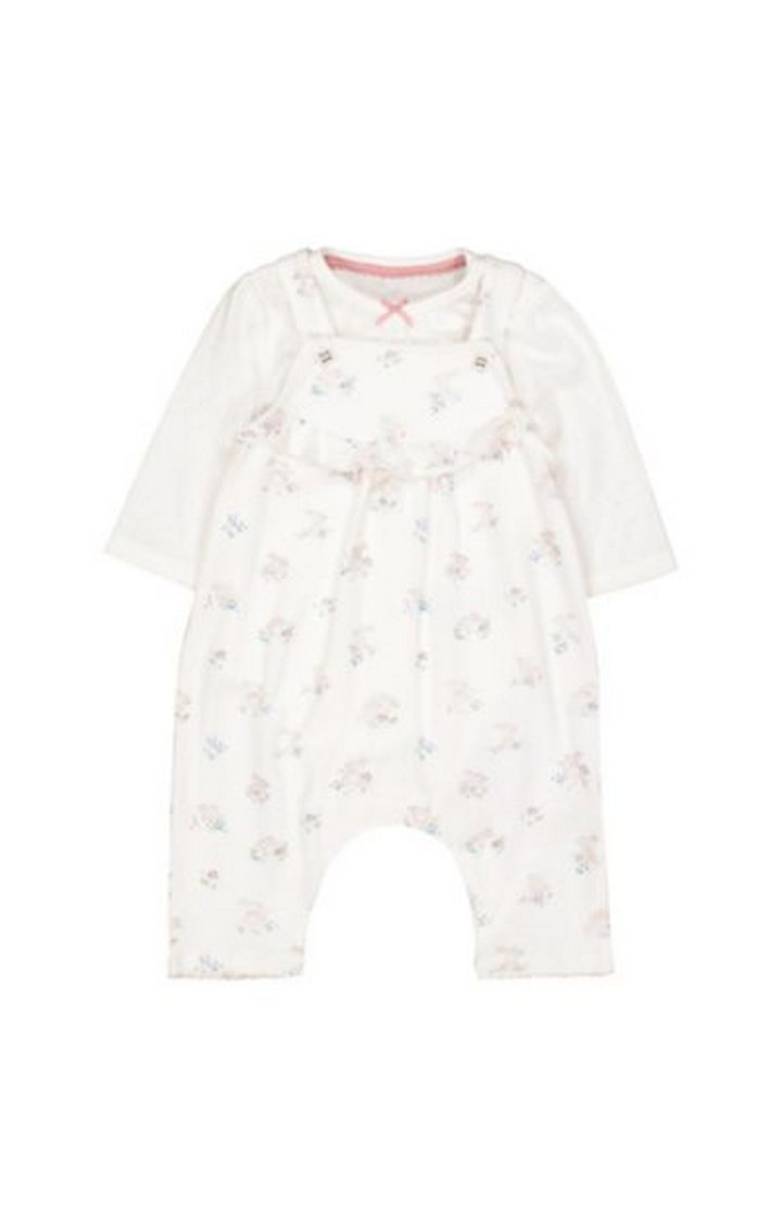 Mothercare   Floral Bunny Dungarees And Bodysuit Set