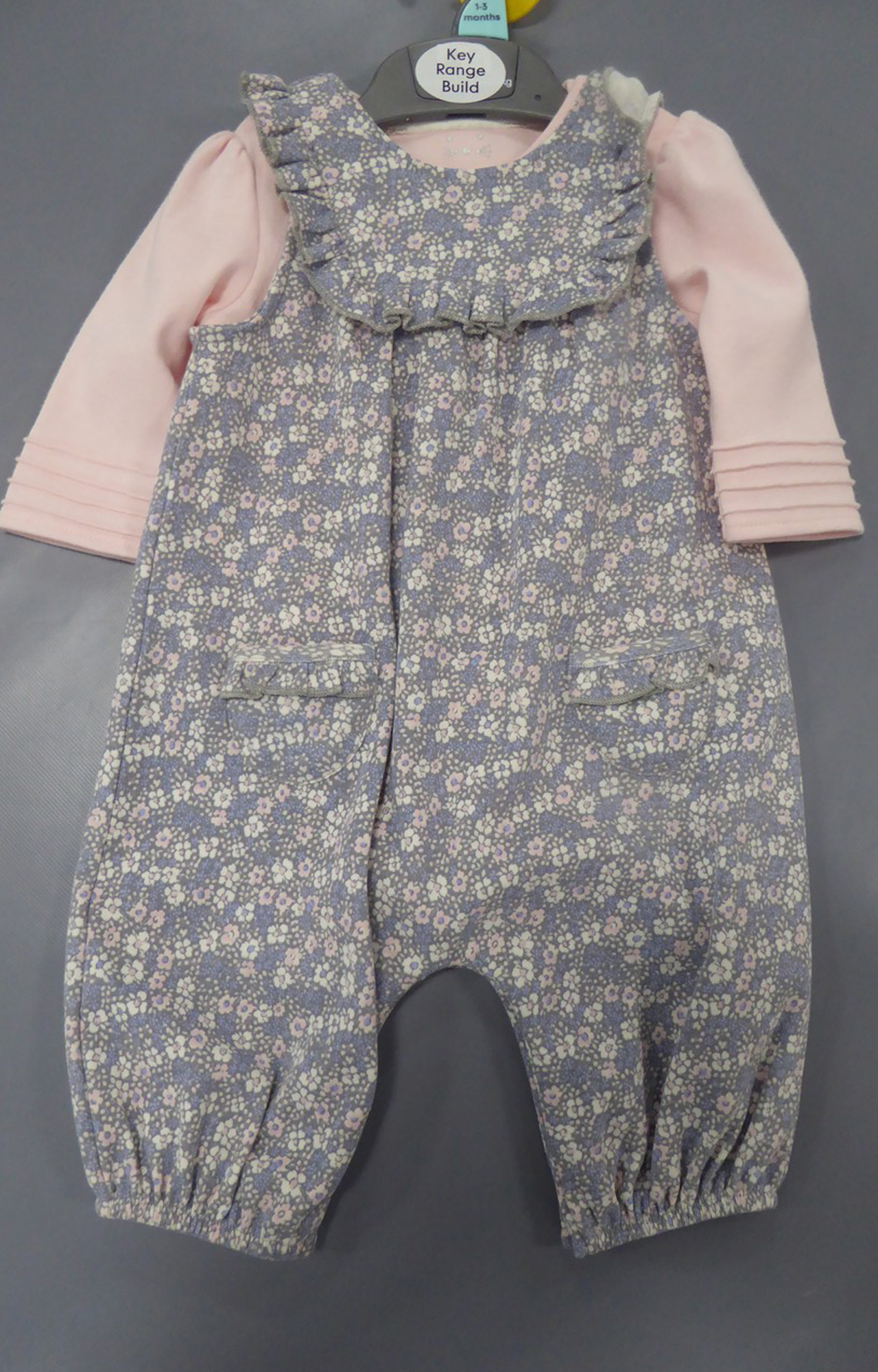 Mothercare | Grey Floral Dungarees And Bodysuit Set