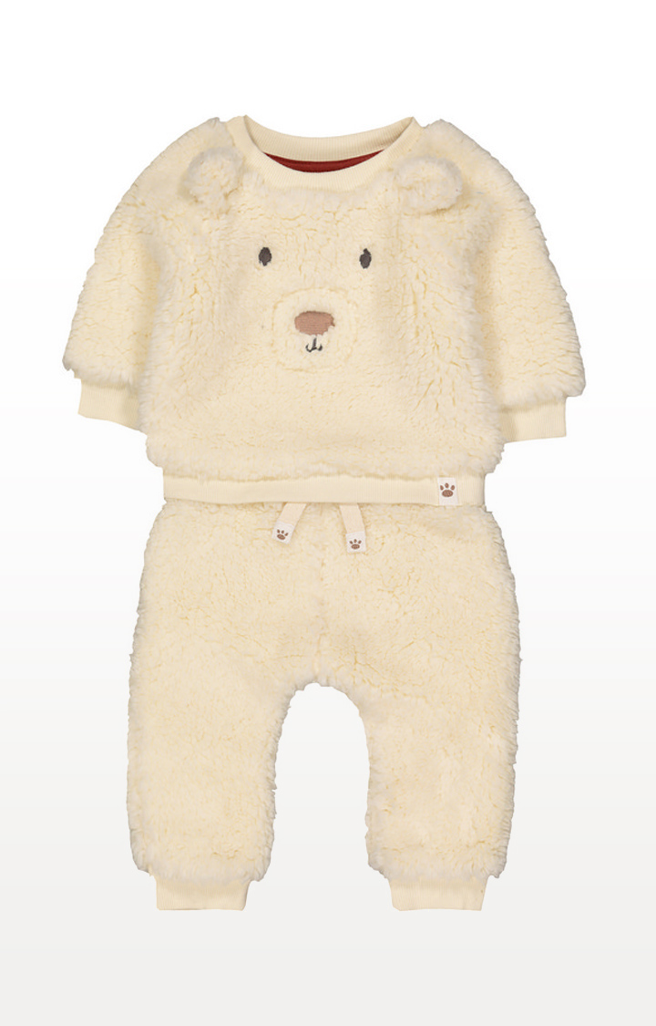 Mothercare | Cream Bear Borg Top And Joggers Set