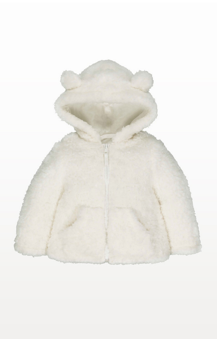 Mothercare | Cream Borg Hooded Top