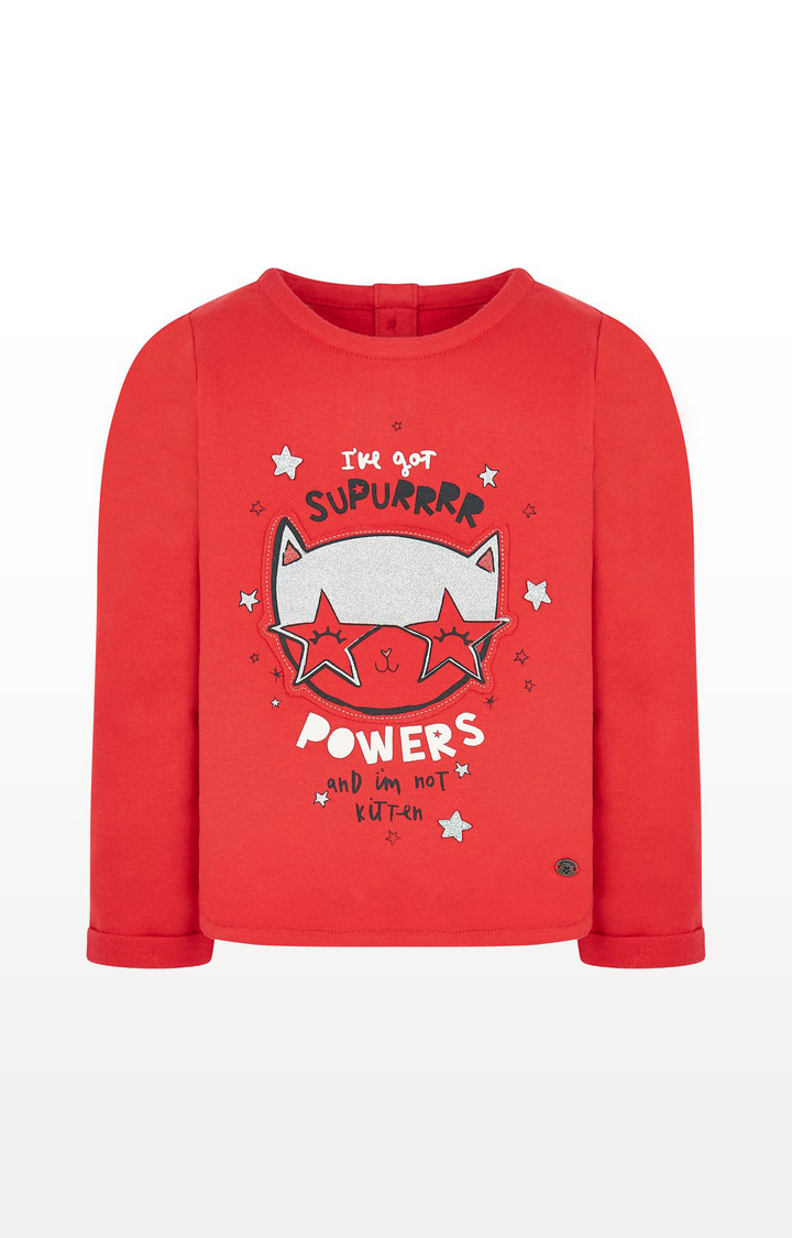 Mothercare | Red Cat Glitter Sweat Top